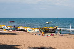 Fishing boats and people at Lake Malawi. Stock Photos