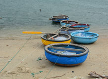 Fishing boats at the Phan Ri pier in Nha Trang province, Vietnam Stock Image