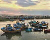 Fishing boats on Phan River in Binh Thuan, Vietnam Stock Photo