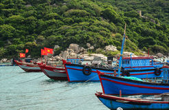 Fishing boats at the pier in Cam Ranh Bay, Vietnam Stock Photography