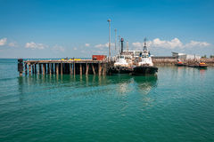 Fishing boats at the pier in Darwin, NT, Australia stock images