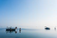 Fishing boats from Po river lagoon, Italy Stock Photos