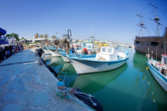 Fishing boats at a port. Cyprus royalty free stock photography
