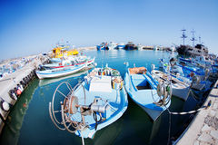 Fishing boats at a port. Cyprus royalty free stock images