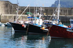 Fishing boats into the port Royalty Free Stock Images