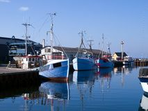 Fishing boats in a port Stock Image