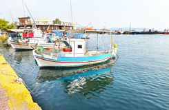 Fishing boats at the port of Eleusis Greece stock images