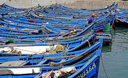 Fishing boats in the port of Essaouira royalty free stock photography