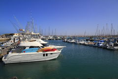 Fishing boats in port, Fuerteventura Stock Photo