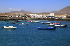 Fishing boats in port, Fuerteventura Stock Photos