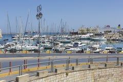 Fishing boats in port in Heraklion, Crete Island, Greece Stock Image