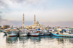 Fishing boats at the port of Hurghada, Hurghada Marina at sunset Stock Image