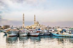 Fishing boats at the port of Hurghada, Hurghada Marina at sunset Stock Image