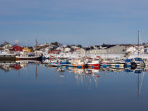 Fishing boats in the port of Laukvik on Lofoten, Norway Stock Image