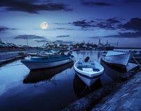 Fishing boats in port of Sozopol at night Stock Photo