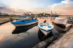 Fishing boats in port of Sozopol at sunrise Royalty Free Stock Photo