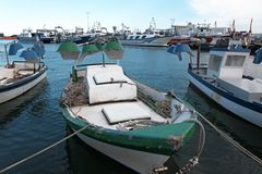 Fishing boats in a port of Tarragona Royalty Free Stock Photos