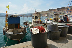Fishing boats in Portoferraio harbor on Elba royalty free stock image