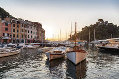 Fishing boats in Portofino harbour Royalty Free Stock Images