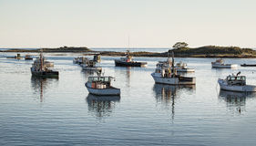 Fishing Boats Prepared to Go Out in the Morning Royalty Free Stock Photo