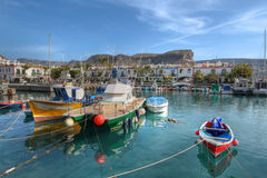 Fishing boats Puerto de Mogan Gran Canaria Spain. Colorful fishing boats moored in the small marina of Puerto de Mogan on the south coast of Gran Canaria Island Stock Images
