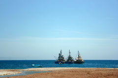 Fishing boats on the quay Royalty Free Stock Photography