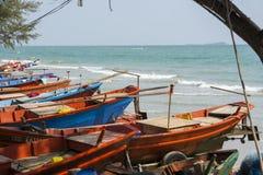 Fishing boats queuing at sea side. At Rayong, Thailand Royalty Free Stock Photos