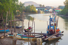 Fishing boats in Ranong Pier, Thailand Stock Photography