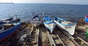 Fishing boats ready to go to sea, Pomorie in Bulgaria stock footage