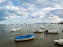 fishing boats and recreation in the Mar Menor royalty free stock image