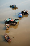 Fishing boats on the Red River, Hanoi, Vietnam Stock Photos