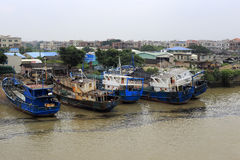 Fishing boats repaired in shipyard Stock Photography