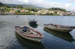 Fishing boats in the Ria of Combarro Royalty Free Stock Photos