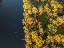 Fishing boats on the river. At autumn Royalty Free Stock Photography