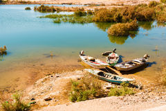 Fishing boats on river Nile. Stock Photo