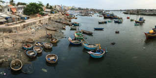 Fishing boats on river in Phan Ri, Vietnam Royalty Free Stock Photography