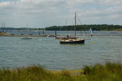 Fishing boats on Rutland Water. England stock photo