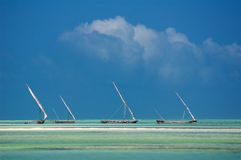 Fishing boats sail traditional Africa Royalty Free Stock Images