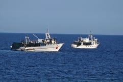 Fishing boats at sea Royalty Free Stock Photo