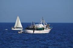 Fishing boats at sea Stock Photography