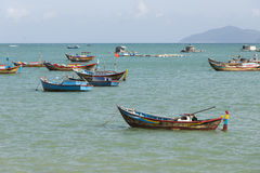 Fishing boats at sea Stock Photos