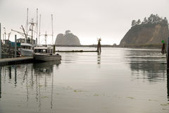 Fishing Boats Sea Bluffs Pacific Ocean Marina Royalty Free Stock Photography