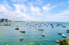 Fishing boats in the sea of Cascais in Portugal. A coastal town west of Lisbon. A famous tourist destination for Portuguese and foreigners. European Royalty Royalty Free Stock Image