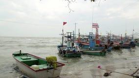 Fishing boats, sea fish, stock video footage