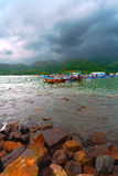 Fishing boats and sea gulf Stock Photography