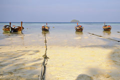 Fishing boats at the sea in Koh Lipe, Satun Province Stock Image
