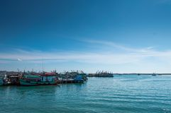 Fishing boats in the sea stock photo