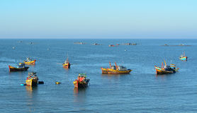 Fishing boats on the sea in Mui Ne town, Vietnam Stock Images