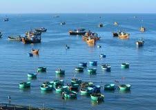 Fishing boats on the sea in Mui Ne town, Vietnam Stock Image