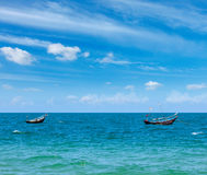 Fishing boats  in sea. Mui Ne, Vietnam Royalty Free Stock Photography
